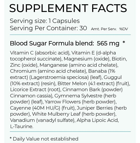 Pure Health Research Blood Sugar Formula Ingredients