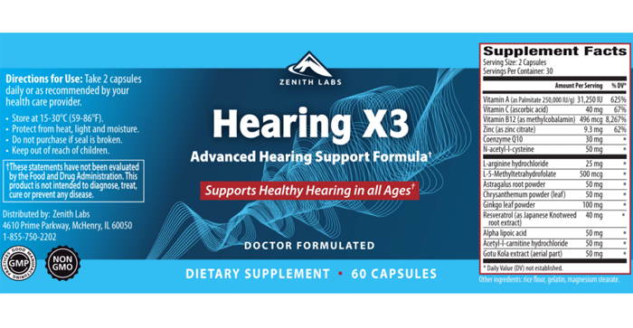 Zenith Hearing X3 Ingredients